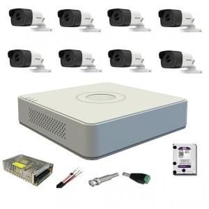 Sistem supraveghere video 8 camere exterior Turbo HD 5MP IR80m Hikvision cu toate accesoriile incluse, cadou HDD 2TB [0]