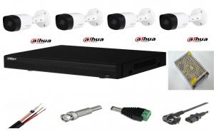 Sistem supraveghere video exterior 4 camere Dahua 2MP IR 20m, DVR Dahua, accesorii incluse [0]
