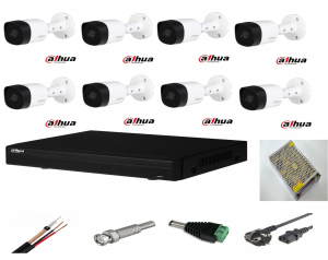 Sistem supraveghere video exterior 8 camere Dahua 2MP, DVR Dahua, accesorii incluse full [0]