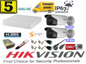 Sistem supraveghere video Hikvision 2 camere 5MP Turbo HD IR 80 M cu DVR Hikvision 4 canale  full accesorii, cablu coaxial [0]