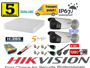 Sistem supraveghere video Hikvision 2 camere 5MP Turbo HD, IR80m si IR40m, DVR Hikvision 4 canale, full accesorii [0]