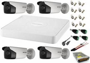 Sistem supraveghere video Hikvision 4 camere de exterior 5MP Turbo HD cu IR 40 M full accesorii cu cablu coaxial, live internet [0]