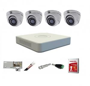 Sistem supraveghere video interior Hikvision 4  camere Turbo HD   5 MP 20 m IR cu toate accesoriile incluse, CADOU  HDD 1TB [0]