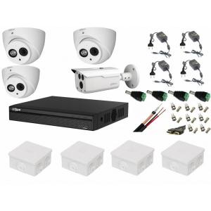 Sistem supraveghere video mixt 4 camere Dahua 1 exterior HDCVI 2MP cu IR80 m si 3 interior IR50m cu accesorii, soft internet [0]