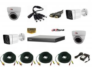 Sistem supraveghere video mixt cu 4 camere 2 camere 2MP AHD IR30m si 2 camere 1MP IR20m, DVR DAHUA 4 canale, accesorii, live internet [0]