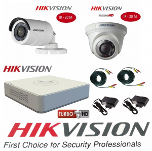 Sistem supraveghere video mixt  Hikvision 2 camere Turbo HD IR 20 M  cu DVR Hikvision 4 canale, full accesorii [0]