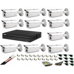Sistem supraveghere video profesional cu 10 camere Dahua 2MP HDCVI IR 80m ,full accesorii, cablu coaxial, live internet [0]