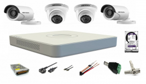 Sistem supraveghere video profesional mixt  4 camere Hikvision Turbo HD 2 camere interior 2 camere exterior toate accesoriile plus HDD Cadou [0]