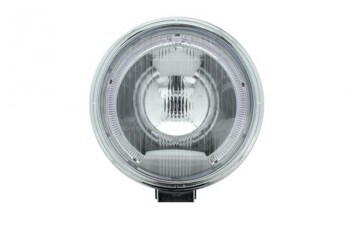 Far universala stanga/dreapta faza lunga, H1, 12/24V, diametru 225mm, alb, plastic, negru, halogen,lumina pozitie LED, rama cromat 0