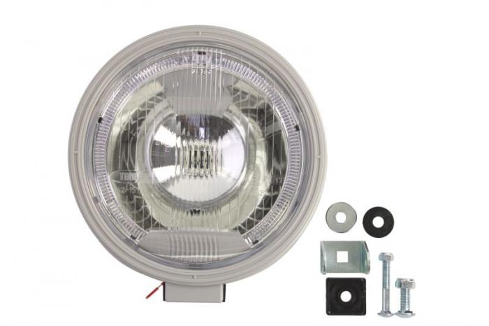 Far universala stanga/dreapta H1, 12/24V, diametru 225mm, alb, plastic, negru, halogen 0