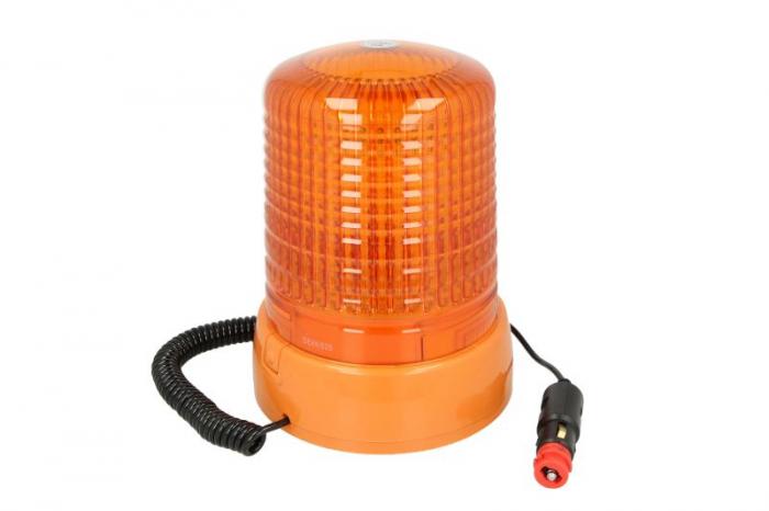Girofar portocaliu, 12/24V, LED, fixare magnetica cu fire 4m 0