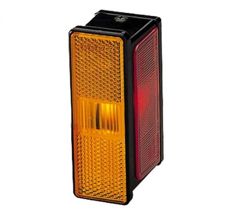 Lampa gabarit stanga, portocaliu/rosu/alb, R10W, inaltime 42 latime 109 adancime 56,2, , 12/24V 0