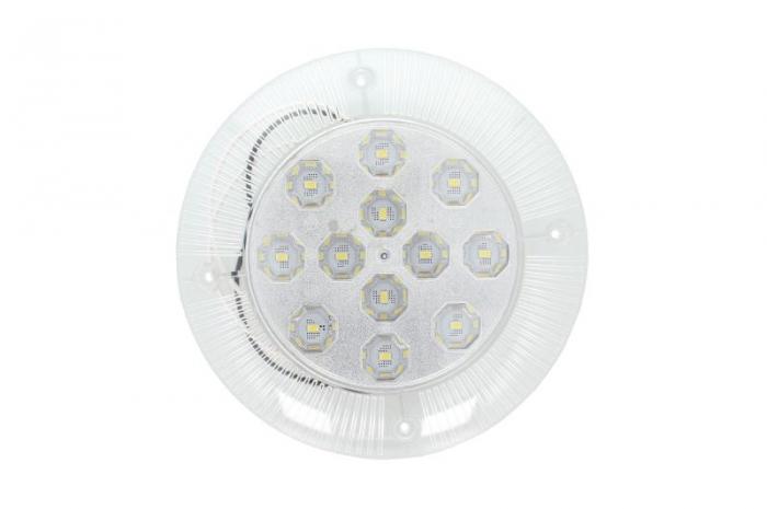 Lampa lumina interior alb, 12V, suprafata, inaltime 19mm, diametru 190mm, 12 leduri, reflector argintiu 0