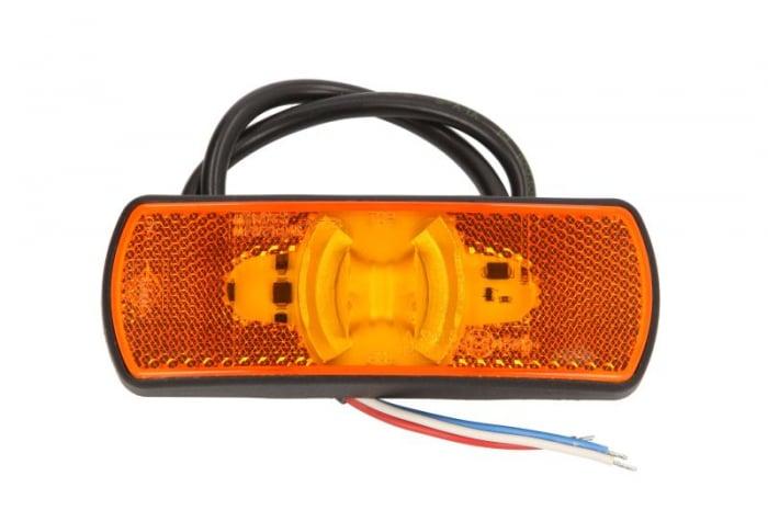 Lumini marcaj spate stanga/dreapta portocaliu, LED, inaltime 44; latime 122; adancime 19, suprafata, lungime furtun 500, 12/24V cu functie semnalizator , reflectorizant 0
