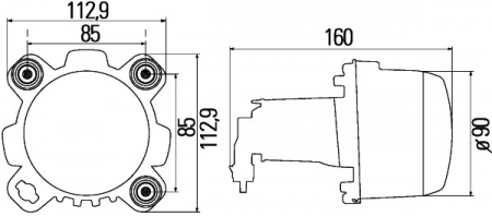 Far universal (H1, 24V, latime 112,9mm, inaltime 112,9mm, diametru 90mm, transparent, negru) MERCEDES ECONIC 2 dupa 20131