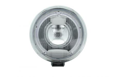 Far universala stanga/dreapta faza lunga, H1, 12/24V, diametru 225mm, alb, plastic, negru, halogen,lumina pozitie LED, rama cromat0