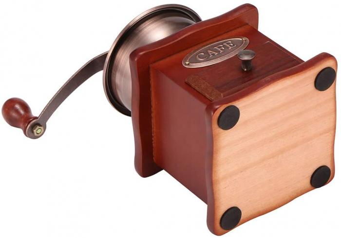 Rasnita manuala vintage din lemn, pentru cafea, condimente, nuci si ierburi, Maro [6]