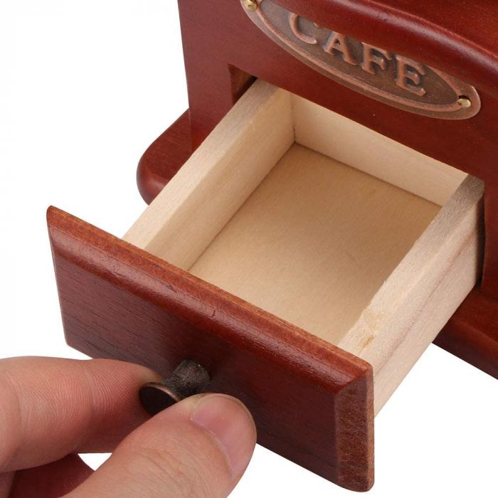 Rasnita manuala vintage din lemn, pentru cafea, condimente, nuci si ierburi, Maro [5]