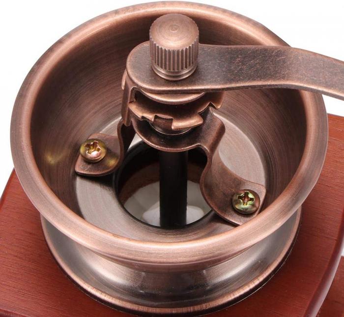 Rasnita manuala vintage din lemn, pentru cafea, condimente, nuci si ierburi, Maro [4]