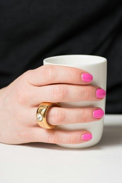 Cana alba cu inel suflat cu aur de 2 karate si cristal, 270 ml [2]
