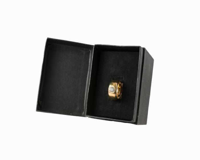 Cana alba cu inel suflat cu aur de 2 karate si cristal, 270 ml [4]