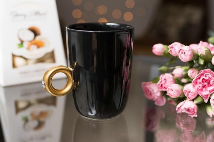 Cana neagra cu inel suflat cu aur de 2 karate si cristal, 270 ml [1]