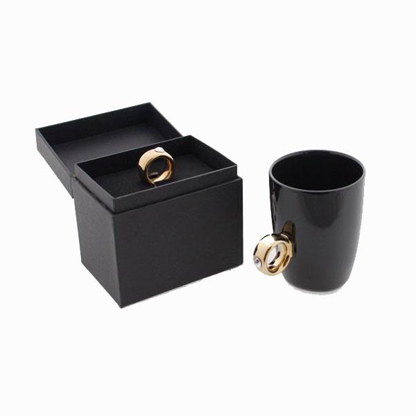 Cana neagra cu inel suflat cu aur de 2 karate si cristal, 270 ml [2]
