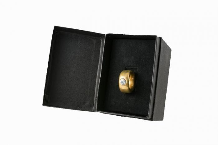Cana neagra cu inel suflat cu aur de 2 karate si cristal, 270 ml [6]