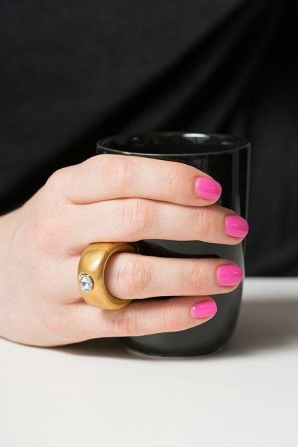 Cana neagra cu inel suflat cu aur de 2 karate si cristal, 270 ml [3]