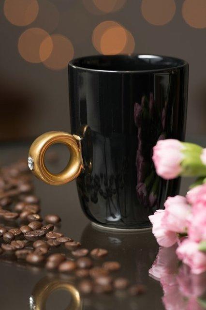 Cana neagra cu inel suflat cu aur de 2 karate si cristal, 270 ml [7]