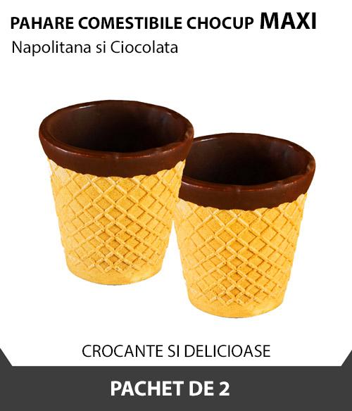 Pahare comestibile Chocup MAXI, Napolitana si Ciocolata, 2 BUC - Capsuleria [0]