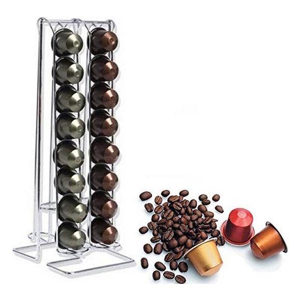 Suport pentru capsule Nespresso, 32 de capsule, Inox, Argintiu [1]