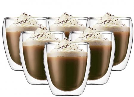 Set 6 cani de cafea din sticla cu pereti dubli, termorezistente, 250 ml, EC Design [2]