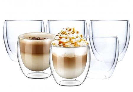 Set 6 cani de cafea din sticla cu pereti dubli, termorezistente, 250 ml, EC Design [0]