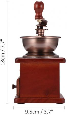 Rasnita manuala vintage din lemn, pentru cafea, condimente, nuci si ierburi, Maro [7]