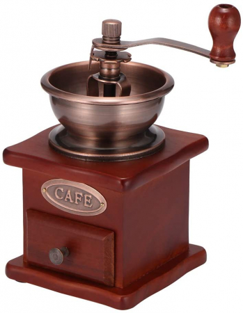 Rasnita manuala vintage din lemn, pentru cafea, condimente, nuci si ierburi, Maro [0]