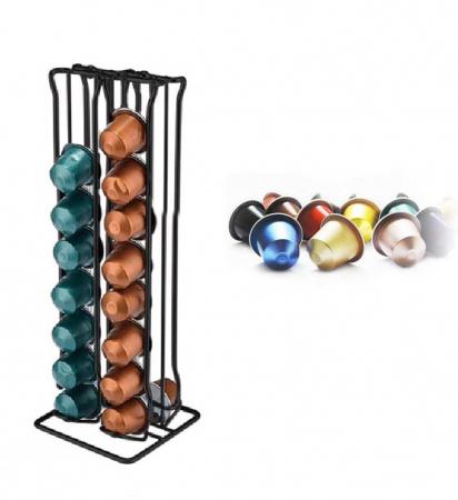 Suport pentru capsule Nespresso, 32 de capsule, Inox, Negru [1]