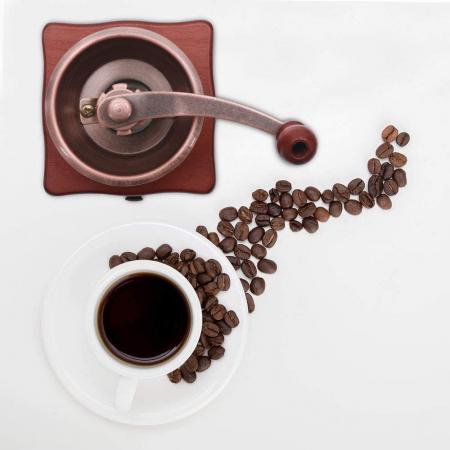 Rasnita manuala vintage din lemn, pentru cafea, condimente, nuci si ierburi, Maro [1]