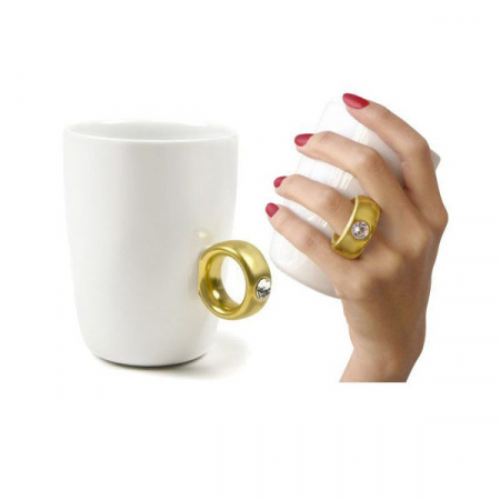 Cana alba cu inel suflat cu aur de 2 karate si cristal, 270 ml [3]