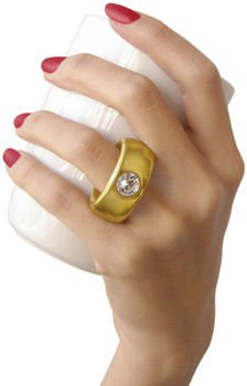 Cana alba cu inel suflat cu aur de 2 karate si cristal, 270 ml [5]