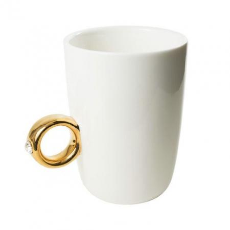 Cana alba cu inel suflat cu aur de 2 karate si cristal, 270 ml [0]