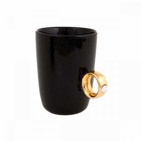 Cana neagra cu inel suflat cu aur de 2 karate si cristal, 270 ml [0]