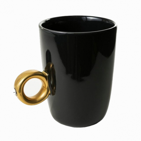 Cana neagra cu inel suflat cu aur de 2 karate si cristal, 270 ml [5]