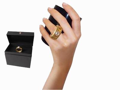 Cana neagra cu inel suflat cu aur de 2 karate si cristal, 270 ml [4]
