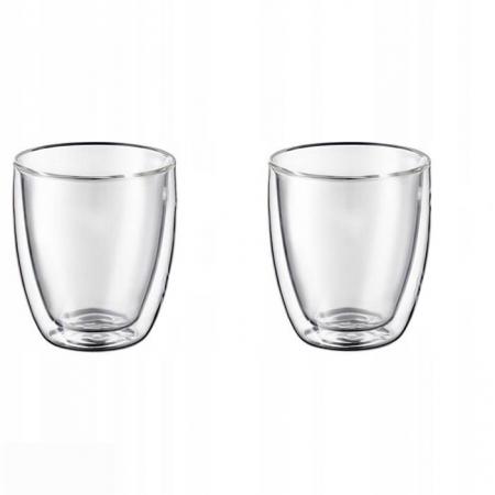 Set 2 cani din sticla borosilicata cu pereti dubli, termorezistente, 350 ml, transparente, EC Design [1]