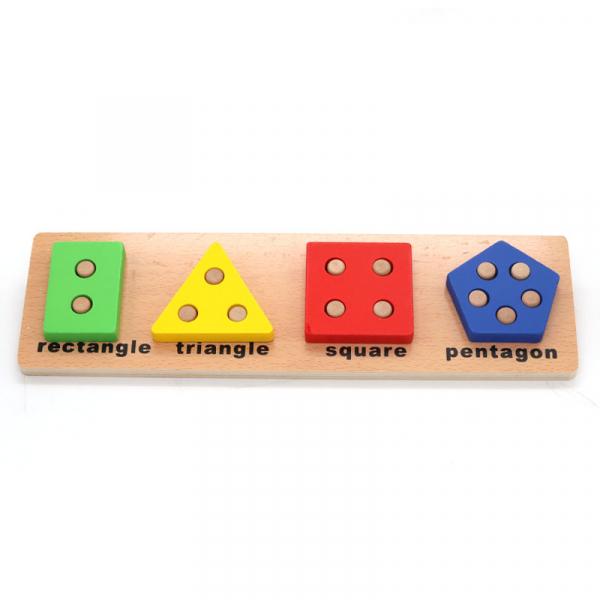 Joc educativ Montessori din lemn  Geometrical shape coghition board D, 4 forme geometrice, Multicolor 0