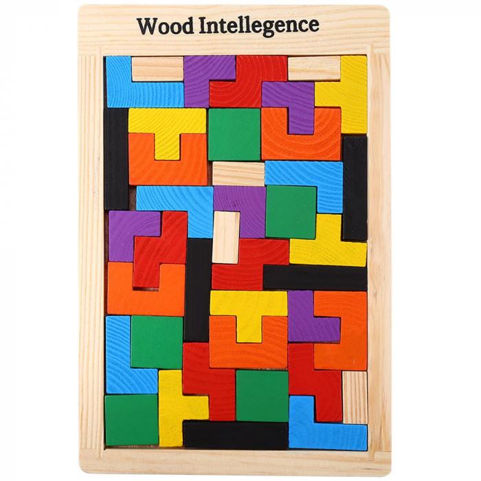 Joc de logica Tetris din lemn-aranjeaza formele geometrice Model Slim 0