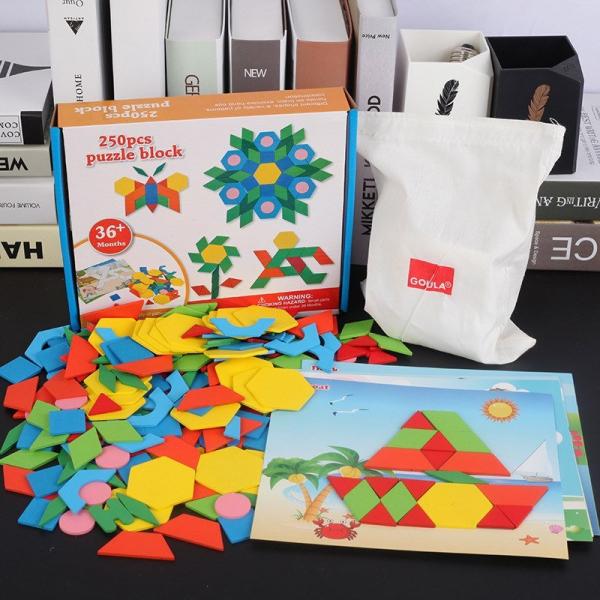 Joc Tangram din lemn 250 piese geometrice multicolore 0