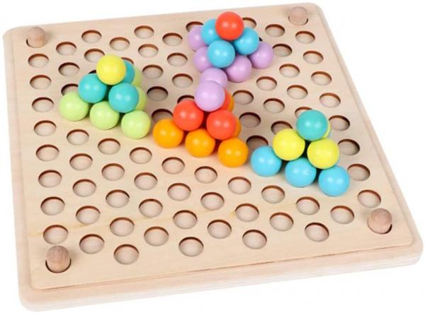 Joc Montessori de indemanare si asociere culori cu bile colorate si bete din lemn 3
