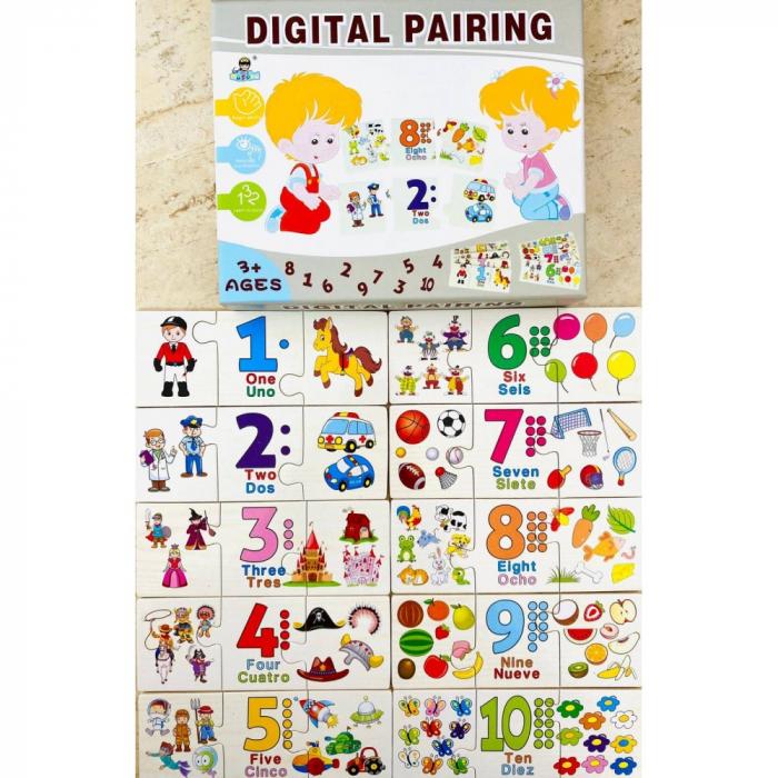 Joc Puzzle din lemn asociere si invatare matematica -Digital Pairing [0]